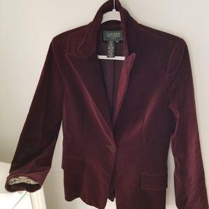 Ralph Lauren Burgundy Velvet Blazer
